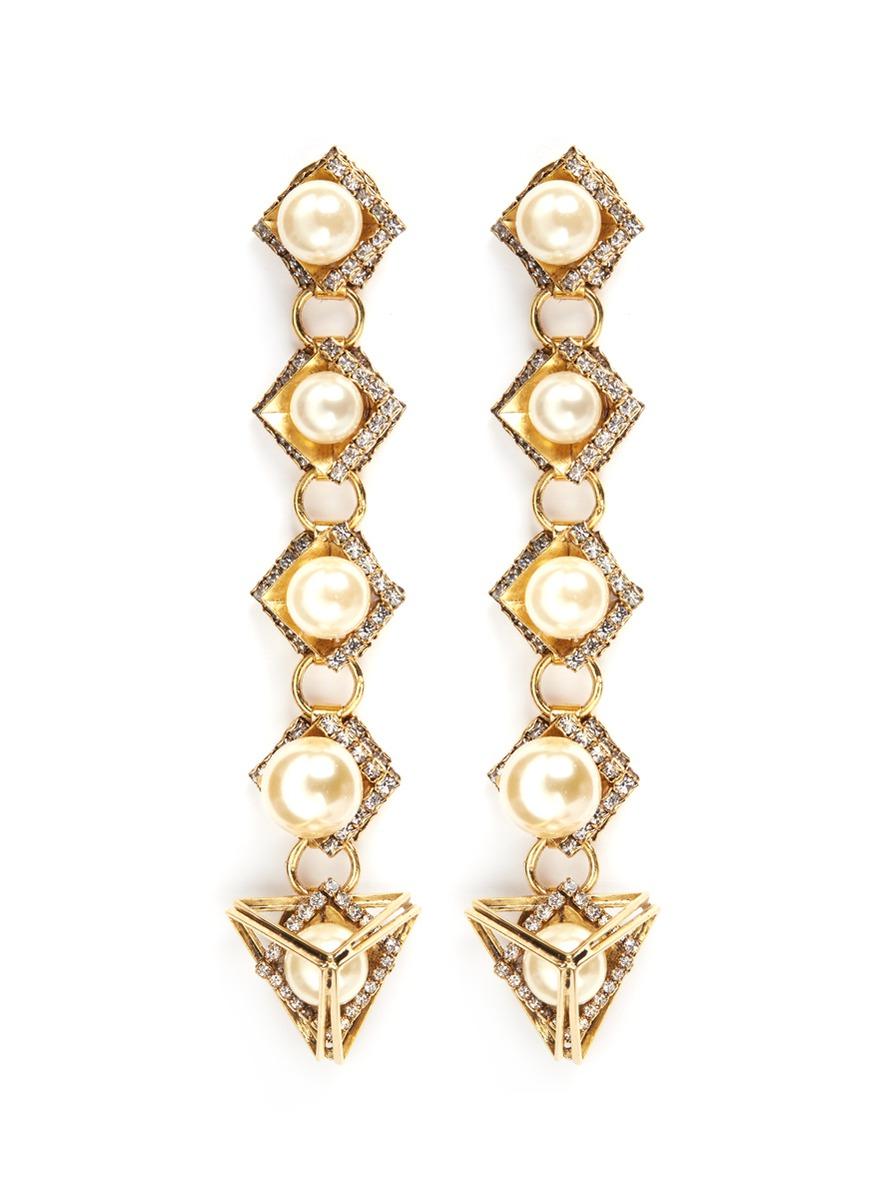 Bermuda Triangle glass pearl drop earrings by Erickson Beamon