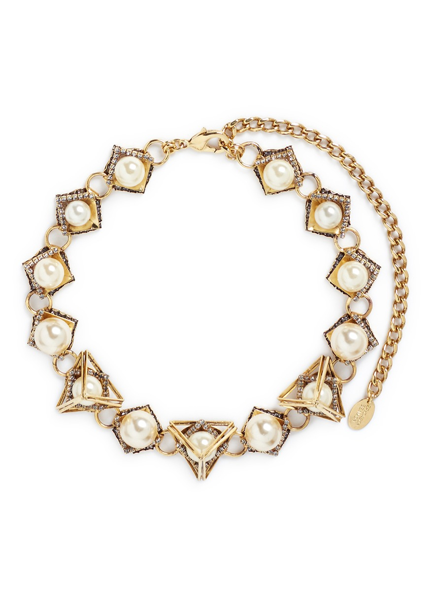 Bermuda Triangle crystal pavé glass pearl necklace by Erickson Beamon