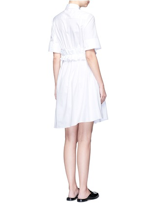 Back View - Click To Enlarge - VICTORIA, VICTORIA BECKHAM - Ruffle panel cotton poplin shirt dress