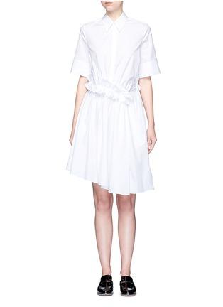 Main View - Click To Enlarge - VICTORIA, VICTORIA BECKHAM - Ruffle panel cotton poplin shirt dress