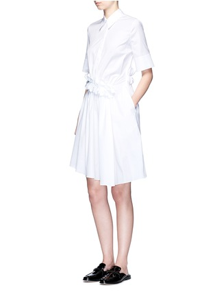 Figure View - Click To Enlarge - VICTORIA, VICTORIA BECKHAM - Ruffle panel cotton poplin shirt dress