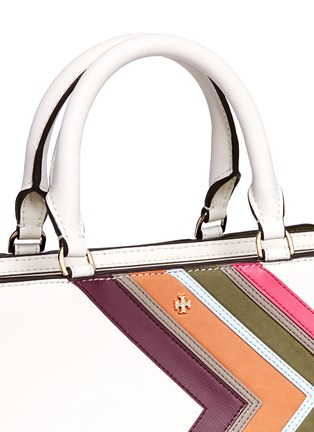 Detail View - Click To Enlarge - Tory Burch - 'Robinson' small suede stripe saffiano leather zip tote