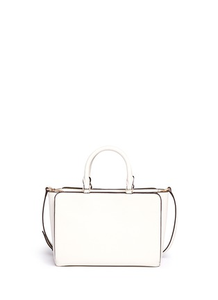 Back View - Click To Enlarge - Tory Burch - 'Robinson' small suede stripe saffiano leather zip tote