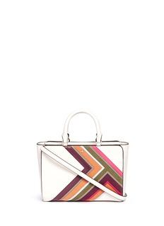 Tory Burch'Robinson' small suede stripe saffiano leather zip tote