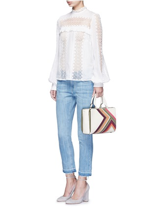 Figure View - Click To Enlarge - Tory Burch - 'Robinson' small suede stripe saffiano leather zip tote
