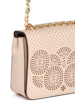 'Zoey' floral perforated leather chain shoulder bag