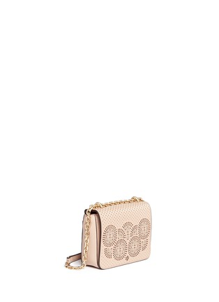 Front View - Click To Enlarge - Tory Burch - 'Zoey' floral perforated leather chain shoulder bag