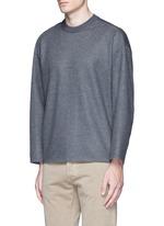 Ribbed shoulder wool felt sweater