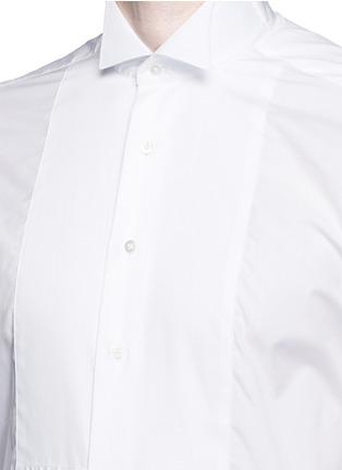 细节 - 点击放大 - TOMORROWLAND - 翼领条纹拼贴纯棉衬衫