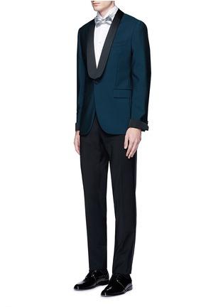 模特儿示范图 - 点击放大 - TOMORROWLAND - 翼领条纹拼贴纯棉衬衫