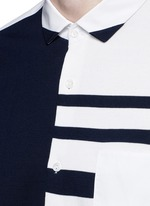 Stripe knit front cotton shirt
