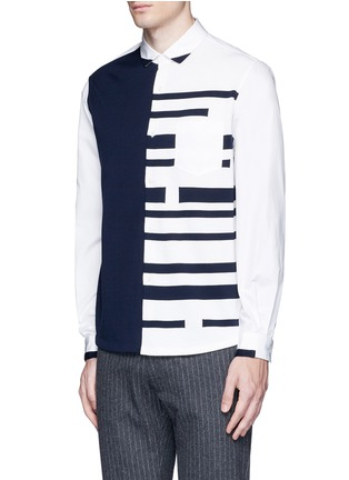 Tomorrowland - Stripe knit front cotton shirt