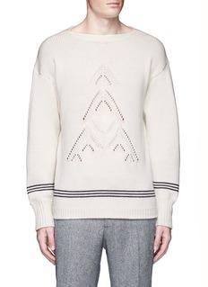 TomorrowlandArcher eyelet stripe knit wool sweater