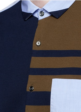 Detail View - Click To Enlarge - Tomorrowland - Stripe knit front cotton shirt