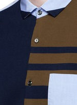 Stripe knit front cotton shirt