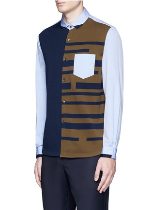 Front View - Click To Enlarge - Tomorrowland - Stripe knit front cotton shirt