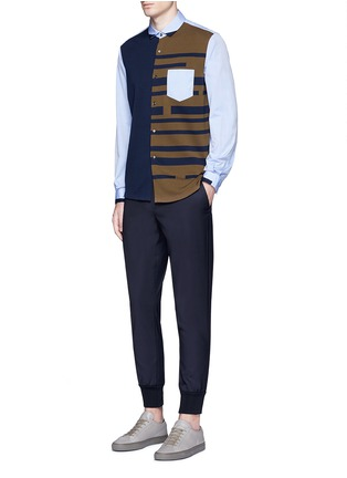 Figure View - Click To Enlarge - Tomorrowland - Stripe knit front cotton shirt