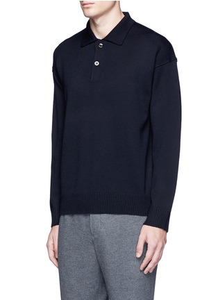 Tomorrowland - Wool-Mohair long sleeve tricot knit polo sweater