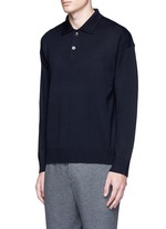 Wool-Mohair long sleeve tricot knit polo sweater