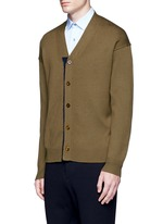 Contrast trim wool mohair cardigan
