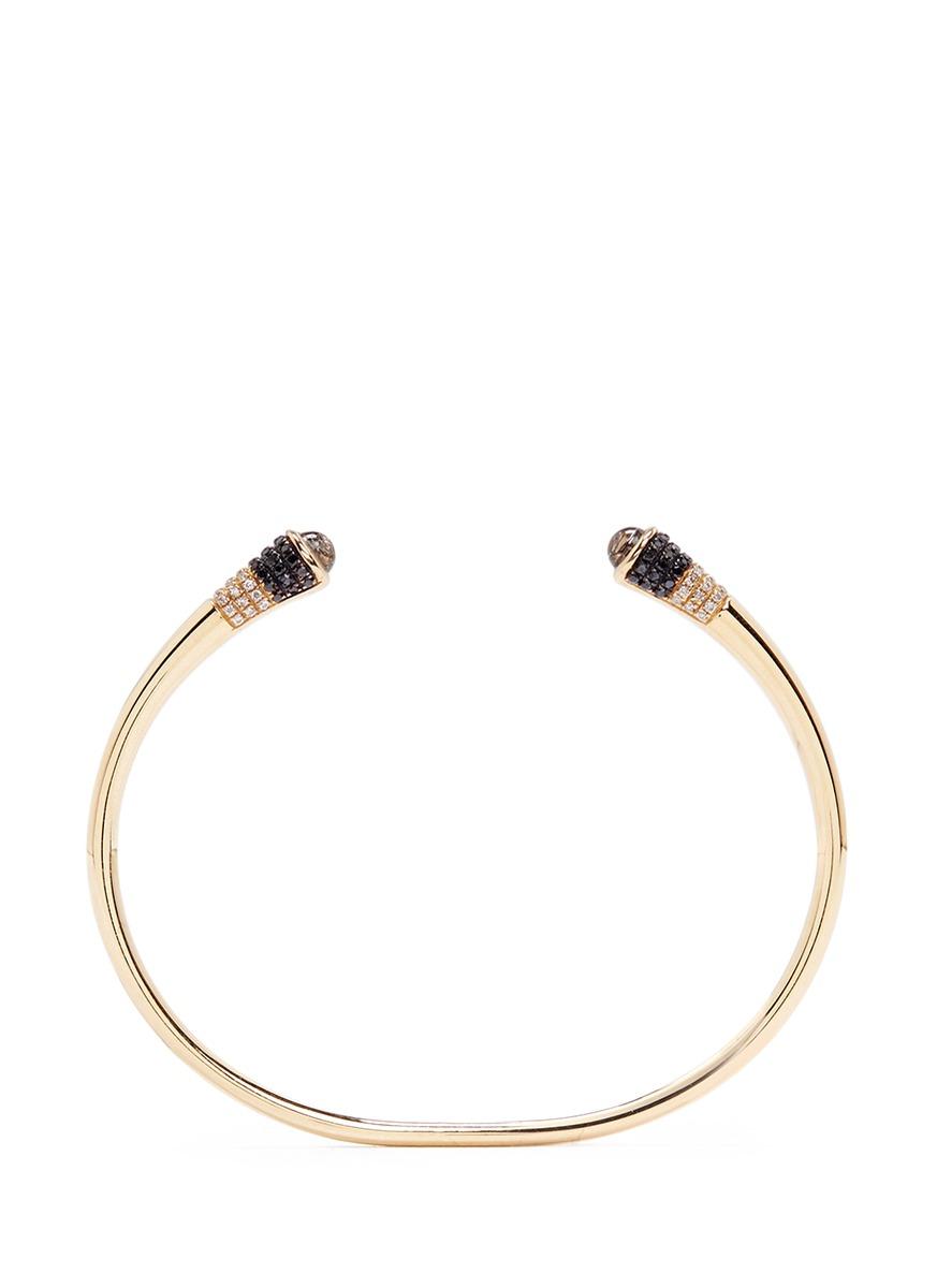 Evolution of Rock diamond topaz 18k yellow gold cuff by Lama Hourani Jewelry