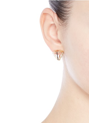 Lama Hourani Jewelry  - 'Evolution of Rock' diamond faceted 18k yellow gold earrings