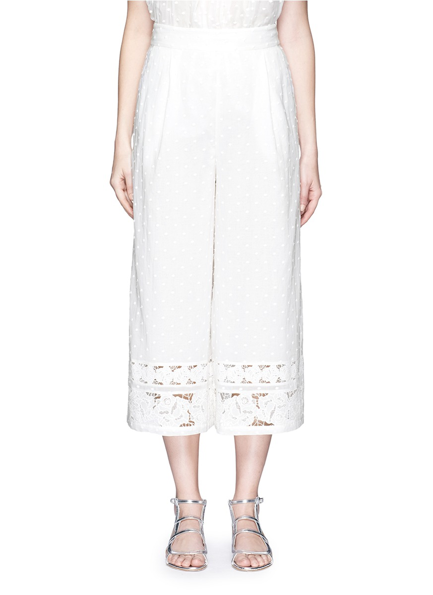 zimmermann female 45883 realm dot floral embroidered cotton cropped pants