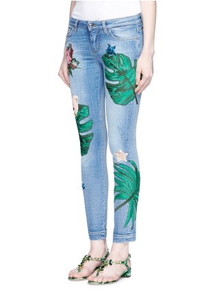 Front View - Click To Enlarge - Dolce & Gabbana - Sequin embroidery skinny jeans