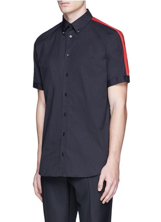 Front View - Click To Enlarge - Alexander McQueen - 'Brad Pitt' grosgrain stripe stud cotton shirt