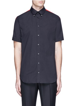 Main View - Click To Enlarge - Alexander McQueen - 'Brad Pitt' grosgrain stripe stud cotton shirt