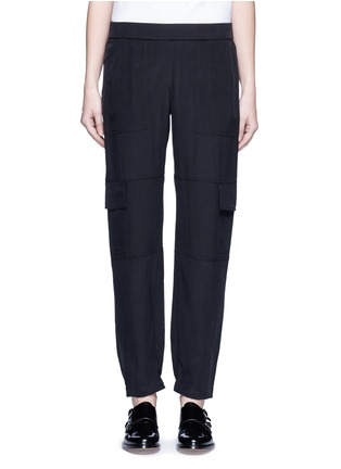 Main View - Click To Enlarge - Theory - 'Hamtana' elastic waist silk habotai cargo pants