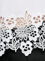 'Riley' floral lace hem silk T-shirt