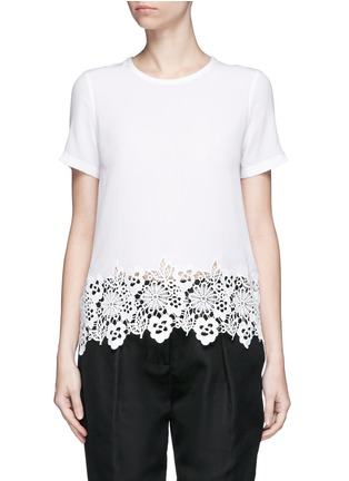 Equipment - 'Riley' floral lace hem silk T-shirt