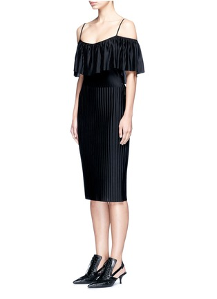 Front View - Click To Enlarge - Givenchy - Off-shoulder plissé pleat dress