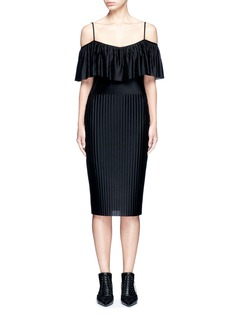Givenchy Off-shoulder plissé pleat dress