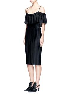 GivenchyOff-shoulder plissé pleat dress