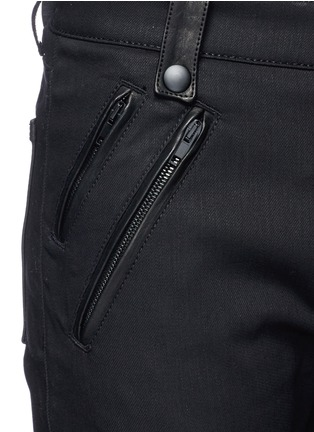 Detail View - Click To Enlarge - Alexander McQueen - Leather pocket denim pants