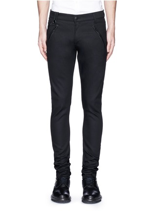 Main View - Click To Enlarge - Alexander McQueen - Leather pocket denim pants