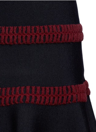 Detail View - Click To Enlarge - Alaïa - 'Frise' stripe knit flared skirt