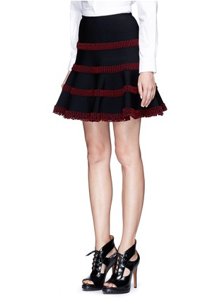 Front View - Click To Enlarge - Alaïa - 'Frise' stripe knit flared skirt