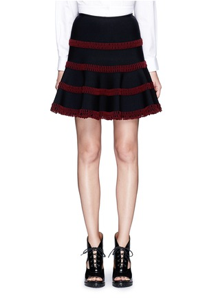 Main View - Click To Enlarge - Alaïa - 'Frise' stripe knit flared skirt