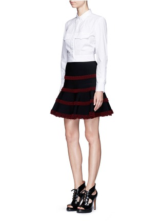 Figure View - Click To Enlarge - Alaïa - 'Frise' stripe knit flared skirt