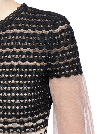 Detail View - Click To Enlarge - Alexander McQueen - Macramé stitch tulle peplum cardigan