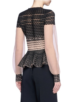 Back View - Click To Enlarge - Alexander McQueen - Macramé stitch tulle peplum cardigan