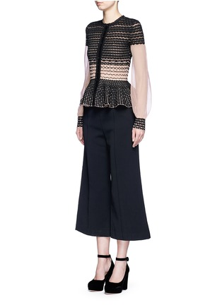 Figure View - Click To Enlarge - Alexander McQueen - Macramé stitch tulle peplum cardigan