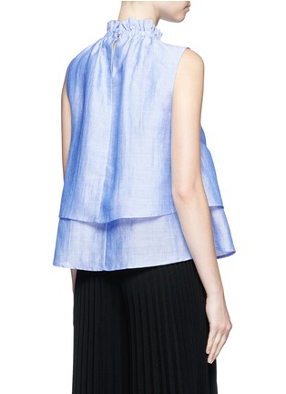 Back View - Click To Enlarge - Co - Ruffle neck layered chambray sleeveless top