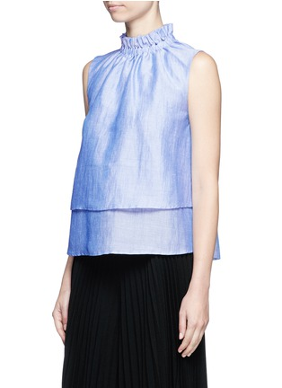 Front View - Click To Enlarge - Co - Ruffle neck layered chambray sleeveless top