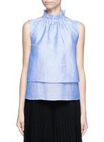 Ruffle neck layered chambray sleeveless top