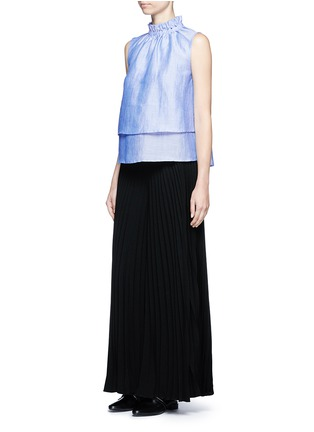 Figure View - Click To Enlarge - Co - Ruffle neck layered chambray sleeveless top