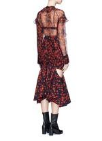 Ruffle floral print silk chiffon blouse